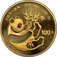 1984  G100Y Gold Panda Coin Obv