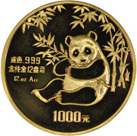1984 12oz  G1000Y Gold Panda Coin Obv