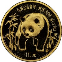 1986P  G10Y Gold Panda Coin Obv