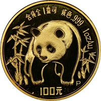 1986P  G100Y Gold Panda Coin Obv