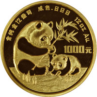 1986 12oz  G1000Y Gold Panda Coin Obv