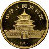1987Y  G10Y Gold Panda Coin Rev