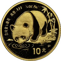 1987P  G10Y Gold Panda Coin Obv