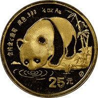 1987S  G25Y Gold Panda Coin Obv