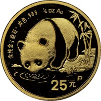 1987P  G25Y Gold Panda Coin Obv