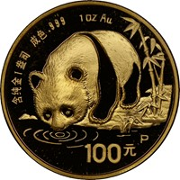 1987P  G100Y Gold Panda Coin Obv