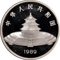 1989 5oz  S50Y Silver Panda Coin Rev
