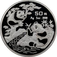 1994 5oz  S50Y Silver Panda Coin Obv