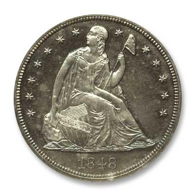 NGC - Kaufman 1848 Silver Dollar Obv