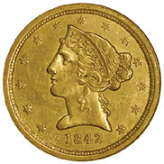 1842 C SMALL DATE $5