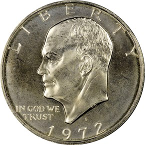 1972 S SILVER $1 MS obverse