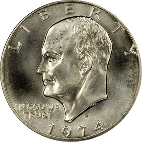 1974 S SILVER $1 MS obverse