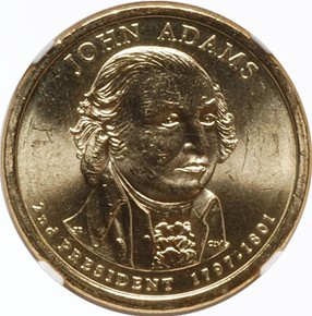 2007 D JOHN ADAMS DBL.EDG.LET. - INVERTED $1 MS obverse