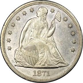 1871 S$1 MS obverse