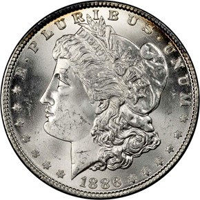 1886 S$1 MS obverse