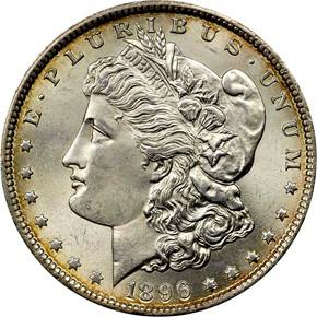 1896 S$1 MS obverse