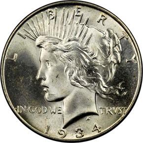 1934 S$1 MS obverse