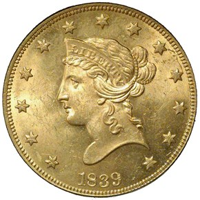 1839 LG LET HEAD OF 38 $10 MS obverse