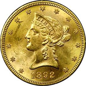 1892 S $10 MS obverse