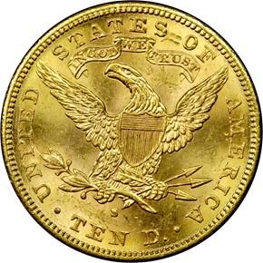 1892 S $10 MS reverse