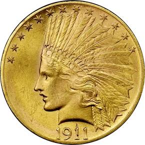 1911 $10 MS obverse