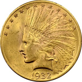 1932 $10 MS obverse