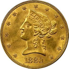 1880 $10 MS obverse