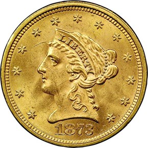 1873 OPEN 3 $2.5 MS obverse