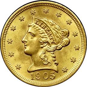 1905 $2.5 MS obverse