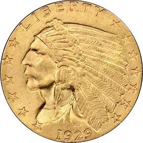 1929 $2.5 MS obverse