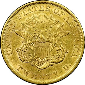 1854 SMALL DATE $20 MS reverse