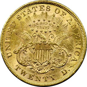 1866 MOTTO $20 MS reverse