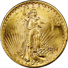 1914 S $20 MS obverse