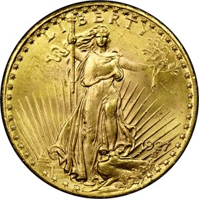 1927 $20 MS obverse