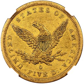 1843 O SMALL LETTERS $5 MS reverse