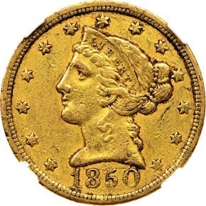 1850 C WEAK C $5 MS obverse