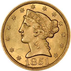 1851 $5 MS obverse