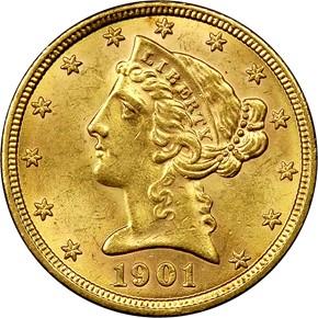 1901 $5 MS obverse