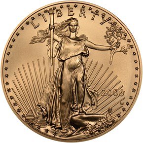 2006 W EAGLE BURNISHED GOLD EAGLE G$50 MS obverse