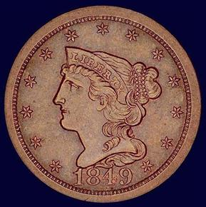 1849 LARGE DATE C-1 1/2C MS obverse