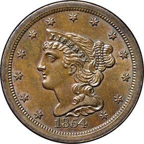 1854 C-1 1/2C MS obverse