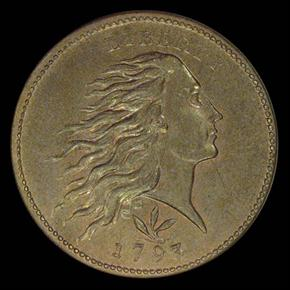 1793 WREATH VINE&BARS 1C MS obverse