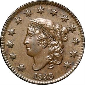 1833 1C MS obverse
