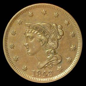 1843 1C MS obverse