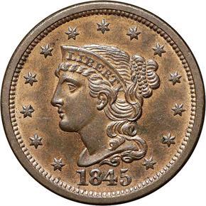 1845 1C MS obverse