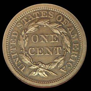 1857 LARGE 1C MS reverse
