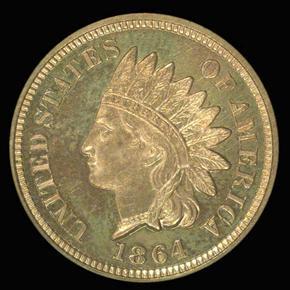1864 BRONZE 1C PF obverse