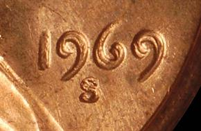 1969 S DOUBLED DIE OBV 1C MS reverse