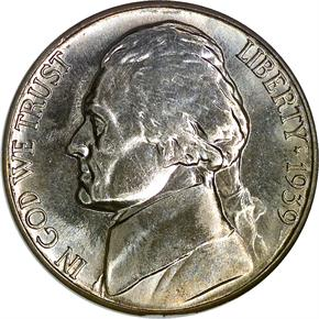 1939 S REV OF 38 5C MS obverse
