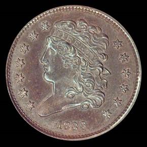 1836 ORIGINAL 1/2C PF obverse